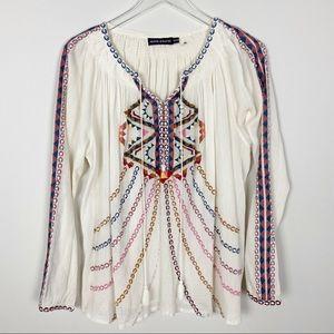 Antik Batik Embroidery Tie Blouse In Cream